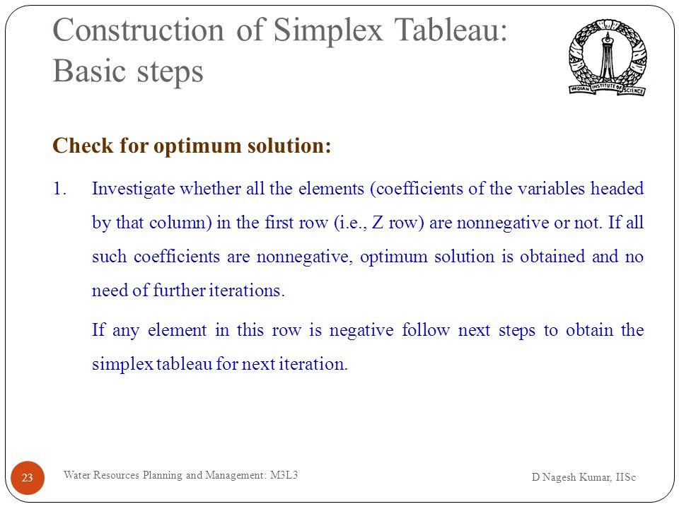 iii) Simplex method - I D Nagesh Kumar, IISc Water Resources