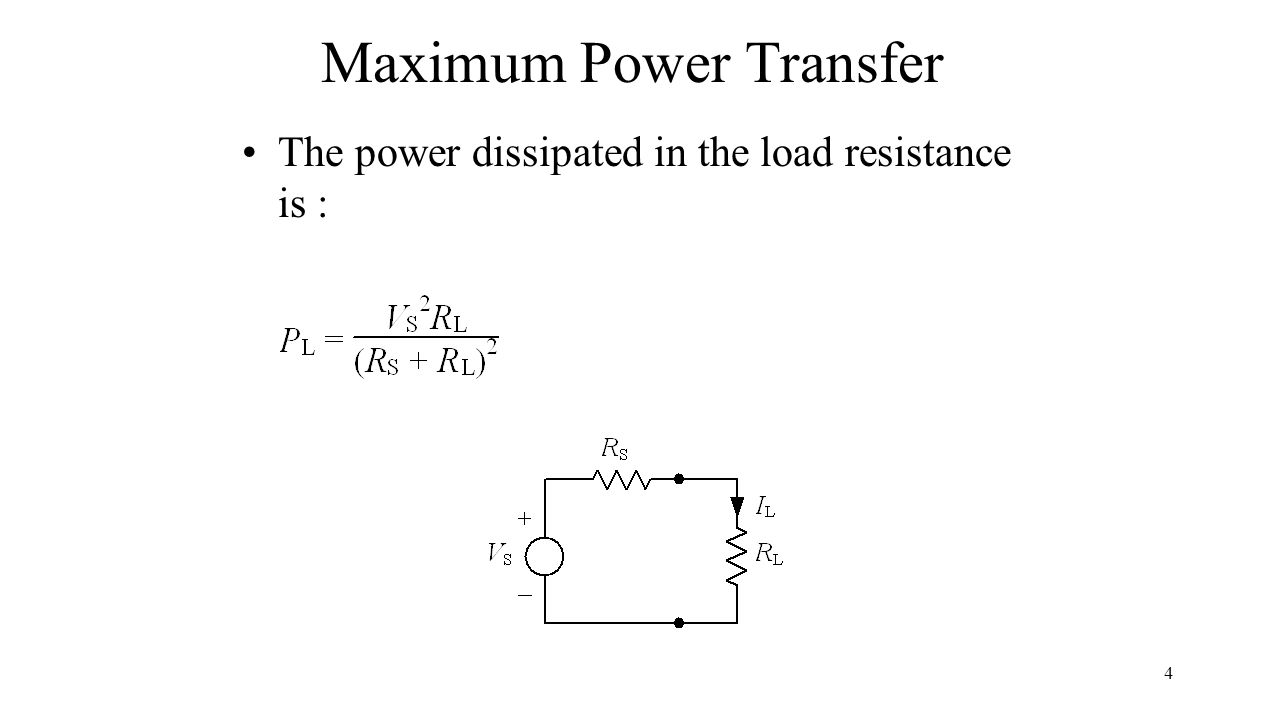 1 Ece 3301 General Electrical Engineering Section 19 Maximum Power Pocer Transper 4 Transfer The Dissipated In Load Resistance Is