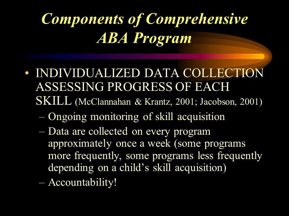 Components Of Bernards Township Aba Program For Children With Autism