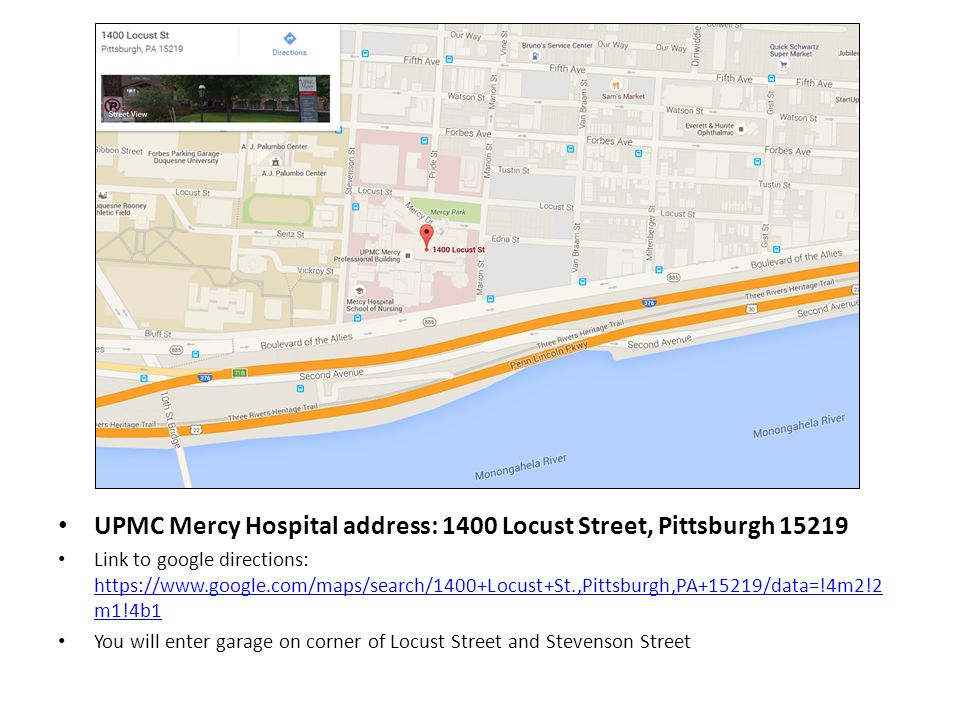 Mercy Hospital Campus Map.Upmc Mercy Hospital Address 1400 Locust Street Pittsburgh Link To