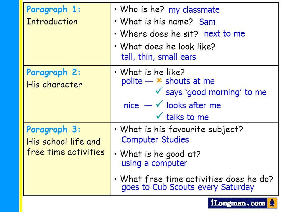 introduce my classmate paragraph