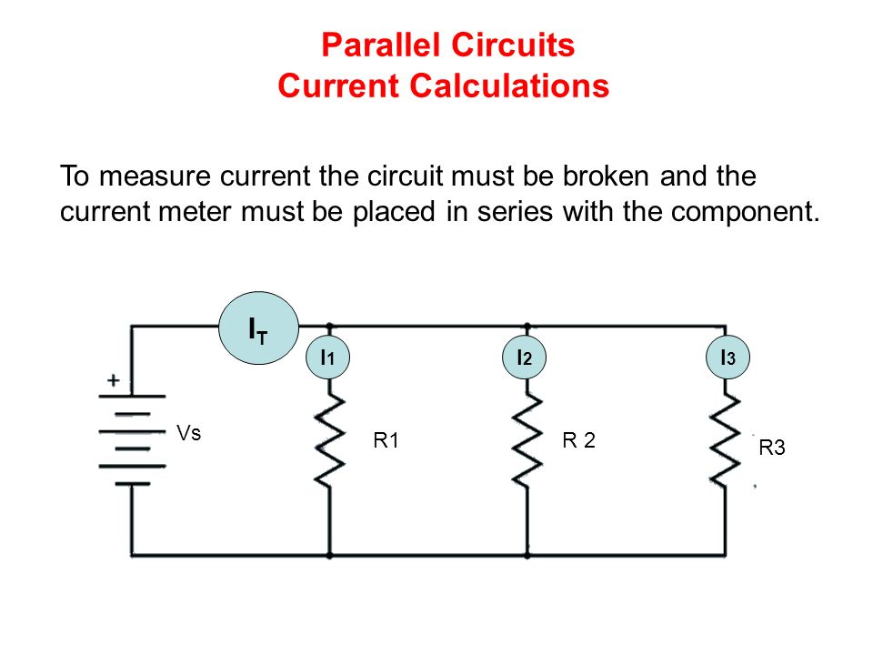 Parallel Circuits Current Calculations ITIT I1I1 I3I3 I2I2 R1R 2 R3 Vs To measure current the circuit must be broken and the current meter must be placed in series with the component.