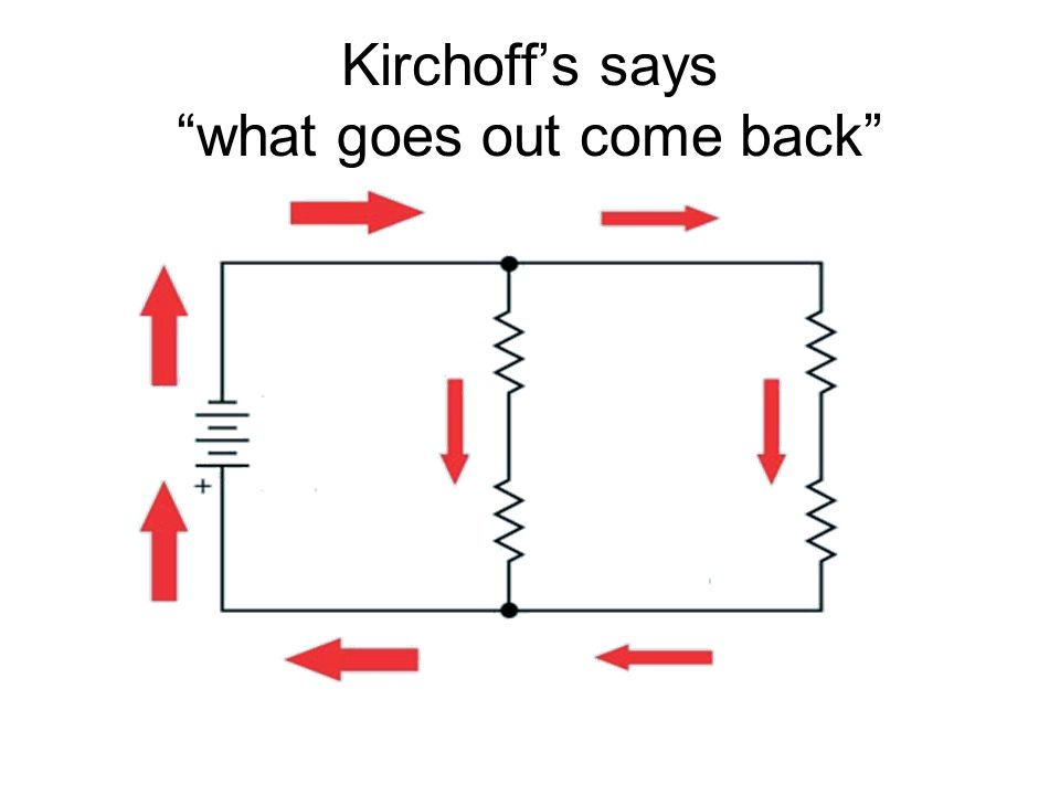 Kirchoff's says what goes out come back