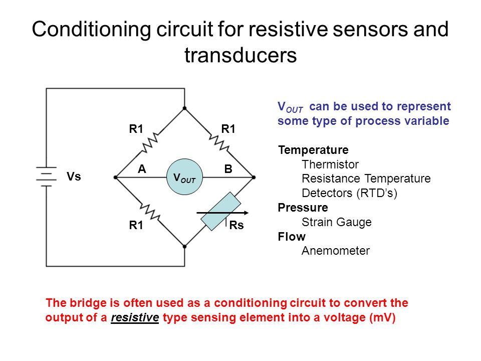 Conditioning circuit for resistive sensors and transducers R1 V OUT R1Rs Vs AB The bridge is often used as a conditioning circuit to convert the output of a resistive type sensing element into a voltage (mV) V OUT can be used to represent some type of process variable Temperature Thermistor Resistance Temperature Detectors (RTD's) Pressure Strain Gauge Flow Anemometer
