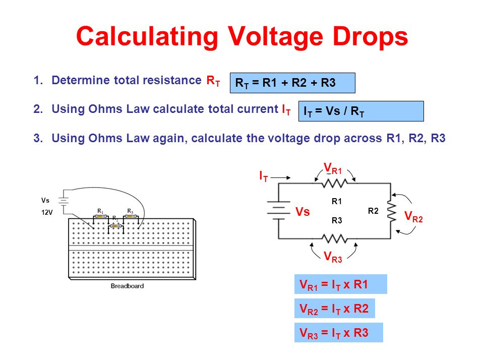 Calculating Voltage Drops 1.Determine total resistance R T 2.Using Ohms Law calculate total current I T 3.Using Ohms Law again, calculate the voltage drop across R1, R2, R3 Vs 12V R1 R2 R3 V R1 V R3 V R2 Vs R T = R1 + R2 + R3 I T = Vs / R T ITIT V R3 = I T x R3 V R1 = I T x R1 V R2 = I T x R2