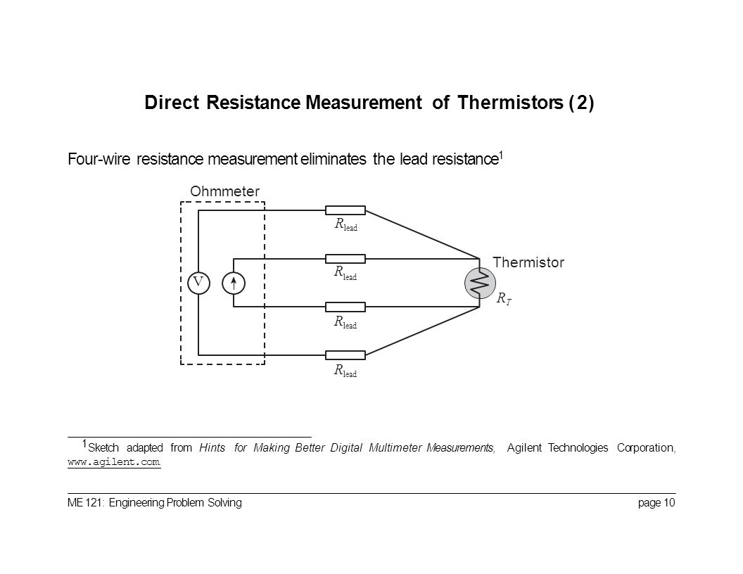Temperature Measurement With Thermistors Portland State University Wiring In Parallel Direct Resistance Of 2 Four Wire Eliminates The Lead