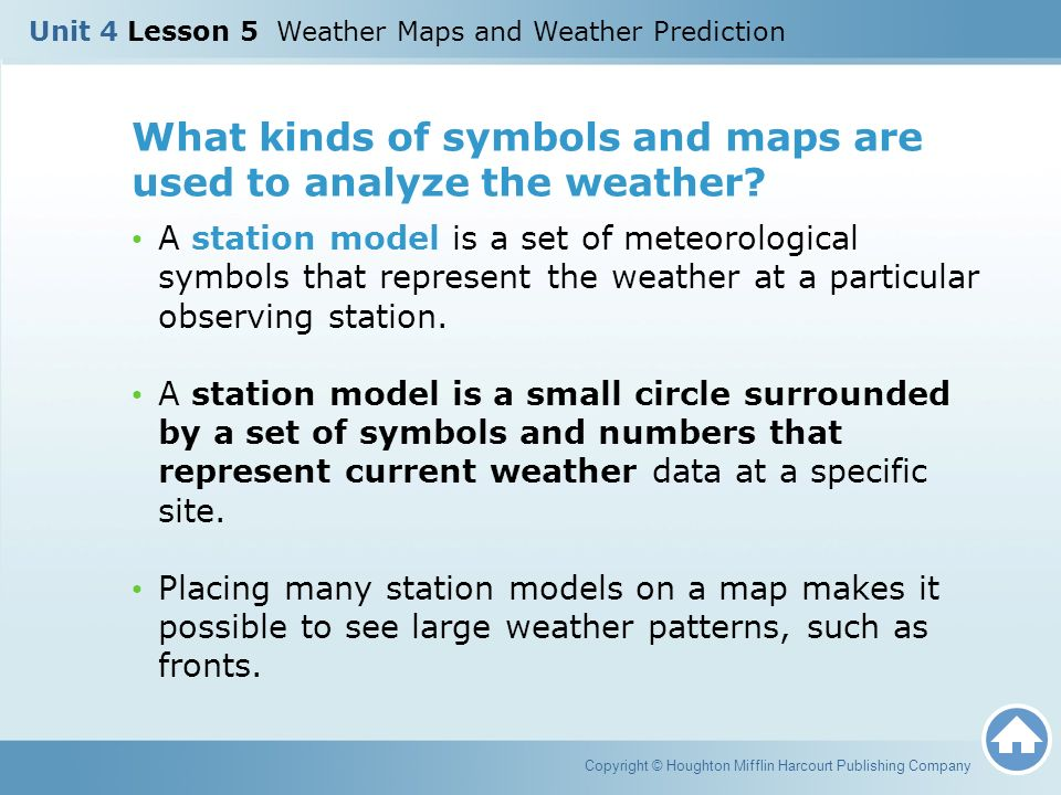 Unit 4 Lesson 5 Weather Maps And Weather Prediction Copyright