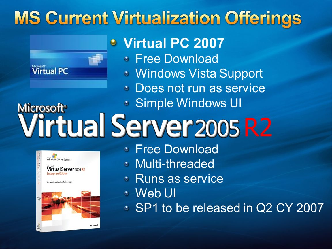 Download microsoft virtual server 2005 r2 for free.