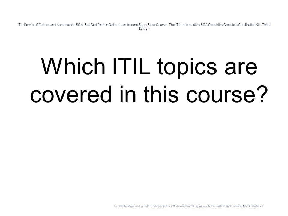 Itil Service Offerings And Agreements Soa Full Certification