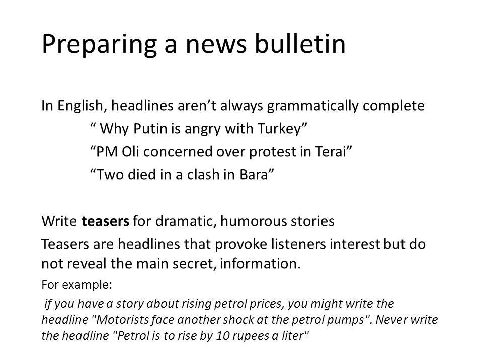 Radio news bulletin example