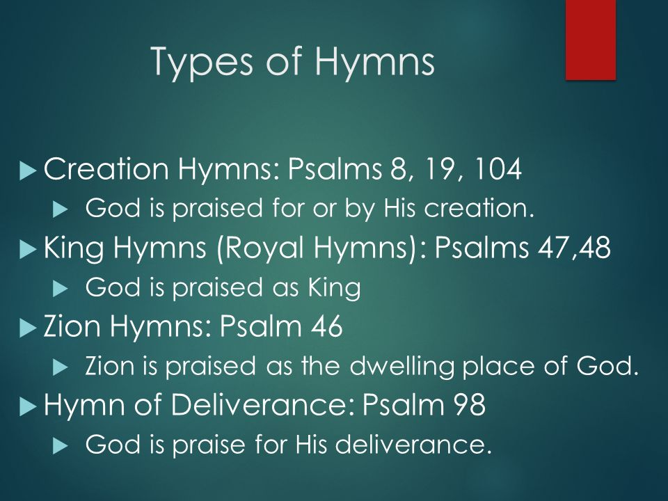Understanding and Praying the Psalms MAJOR GENRES OF PSALMS