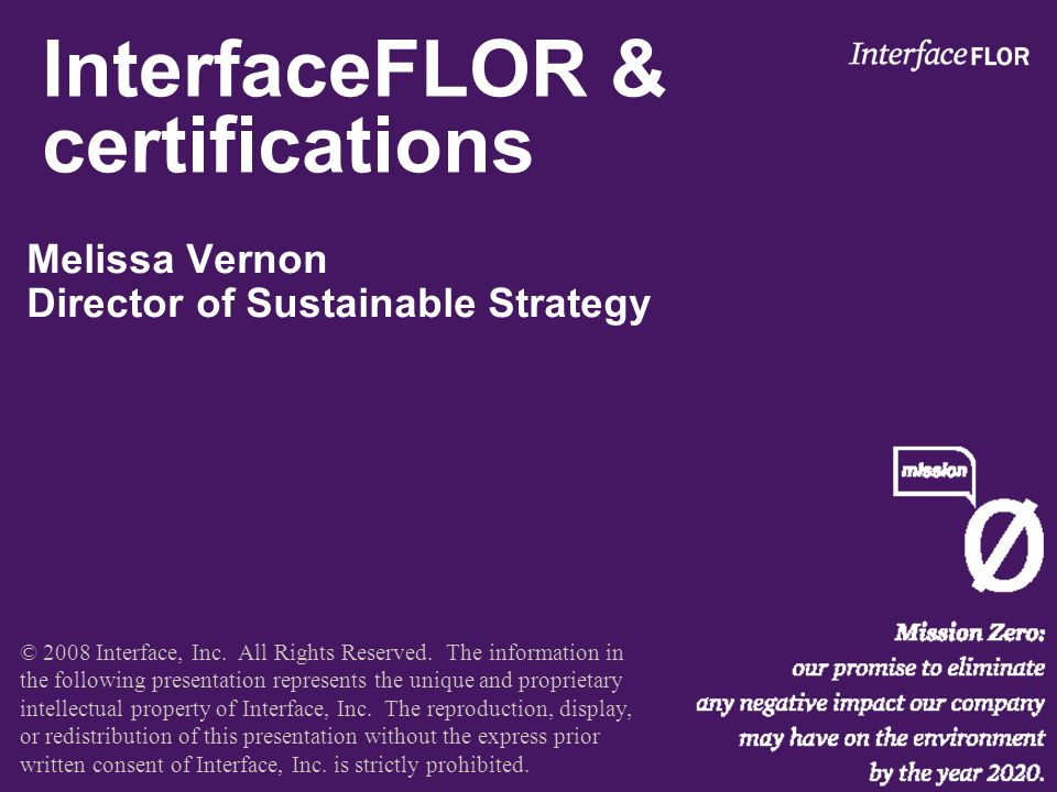 Interfaceflor Certifications Melissa Vernon Director Of