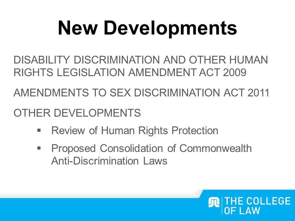 Amendments to sex discrimination act