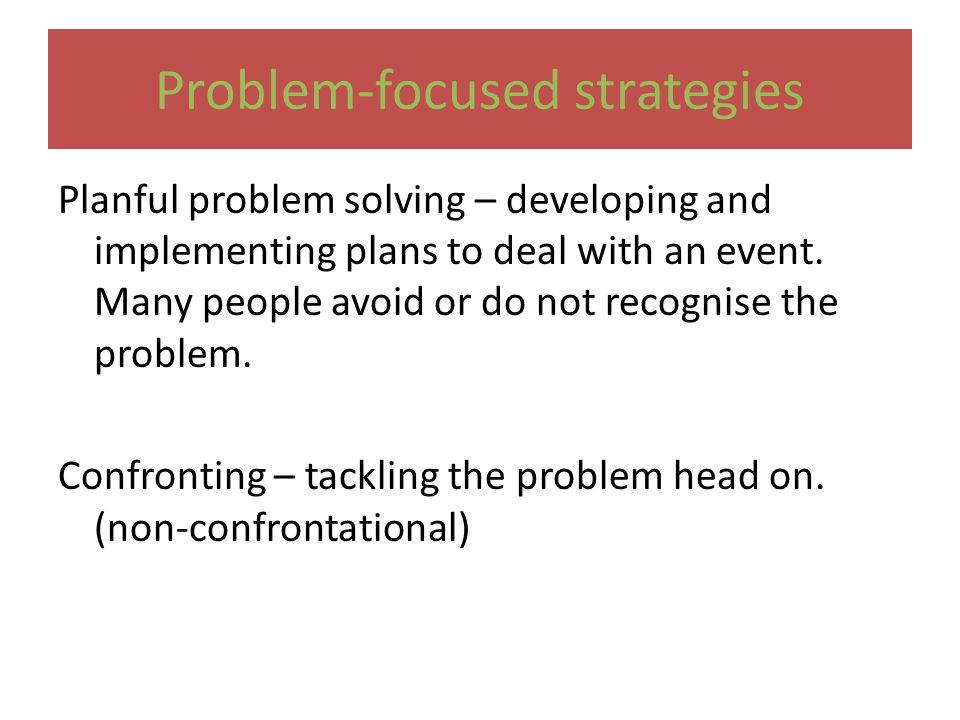 planful problem solving coping strategies