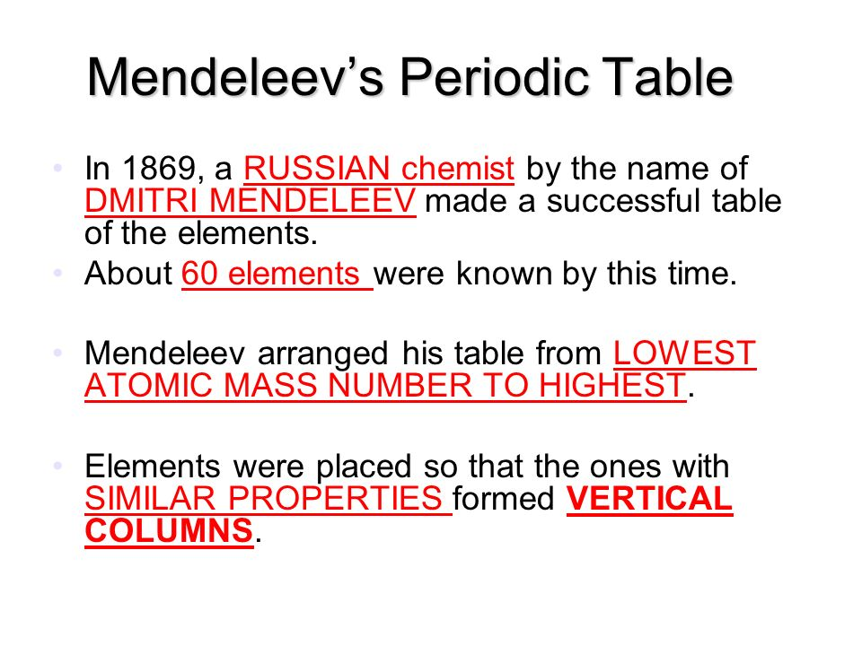 The periodic table i can explain the organization of the periodic mendeleevs periodic table in 1869 a russian chemist by the name of dmitri mendeleev made urtaz Gallery