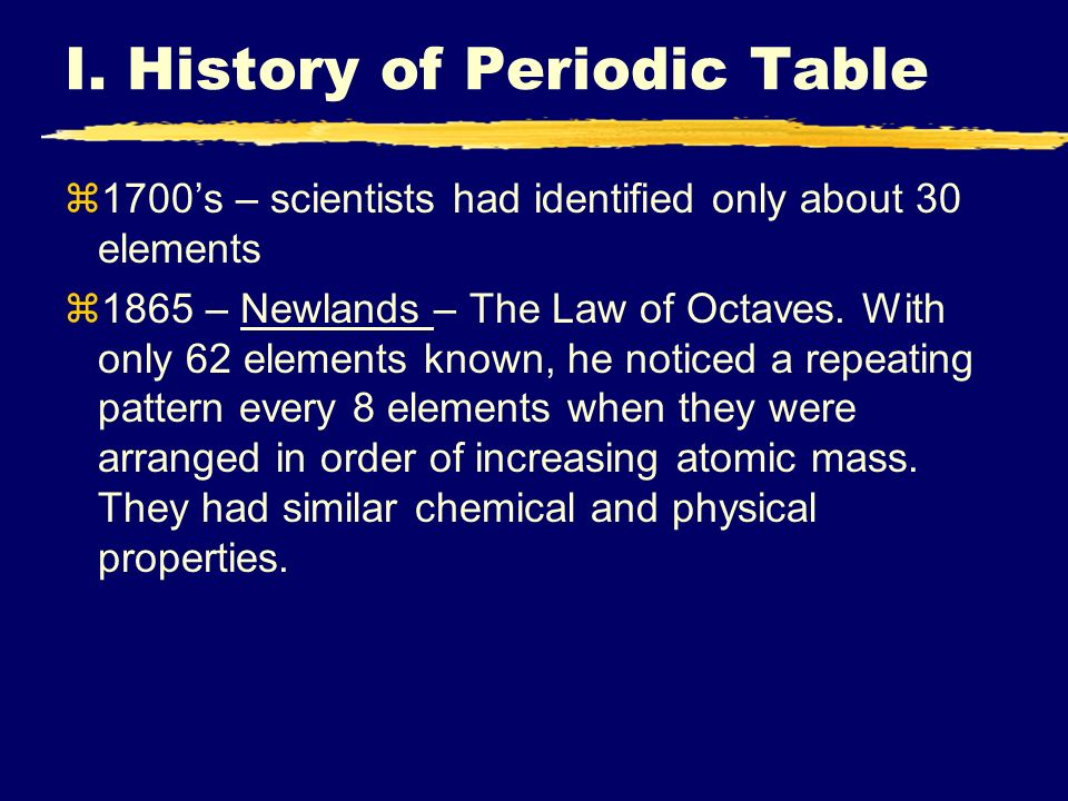 Iiiiii ch 4 the periodic table 1 history and organization of 2 i urtaz