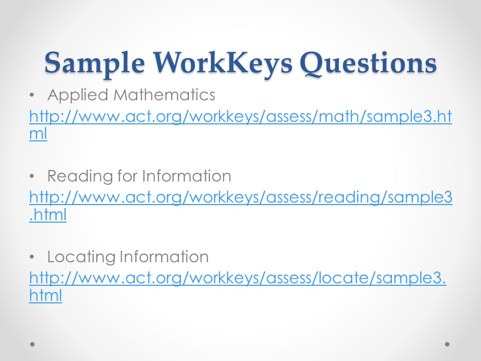 Workkeys assessment study guide array act workkeys and you sample workkeys questions applied mathematics rh slideplayer com fandeluxe Gallery