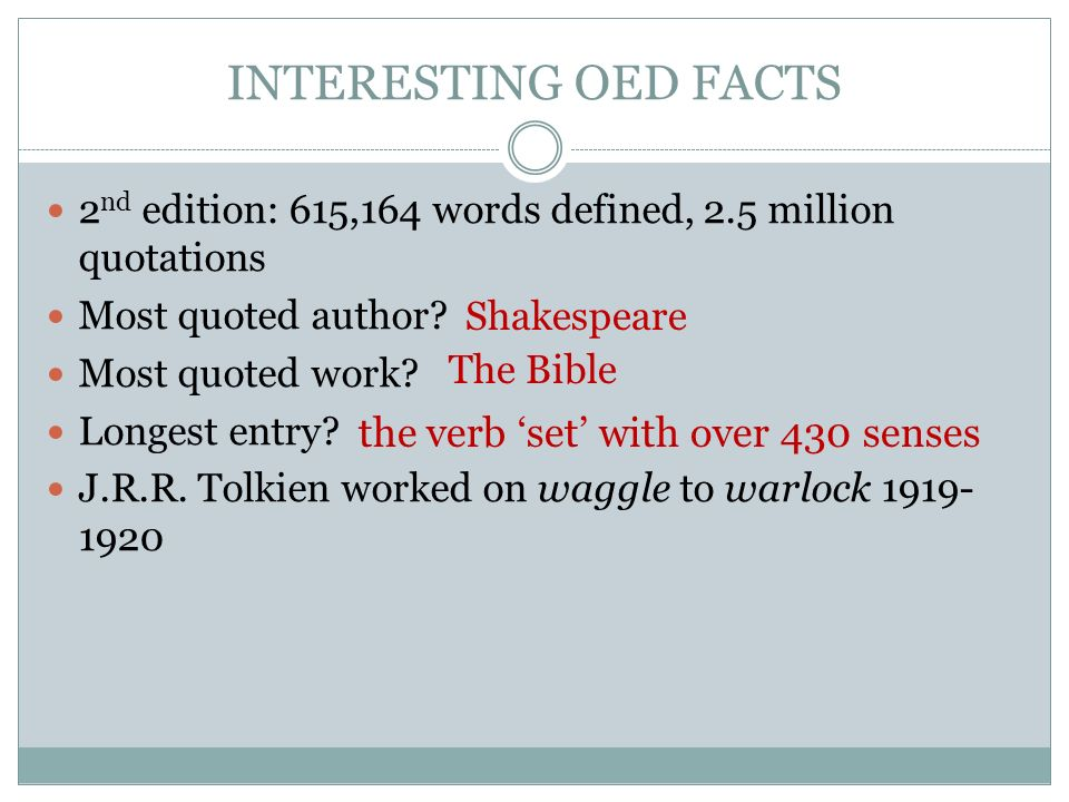 INTERESTING OED FACTS 2 nd edition: 615,164 words defined, 2.5 million quotations Most quoted author.