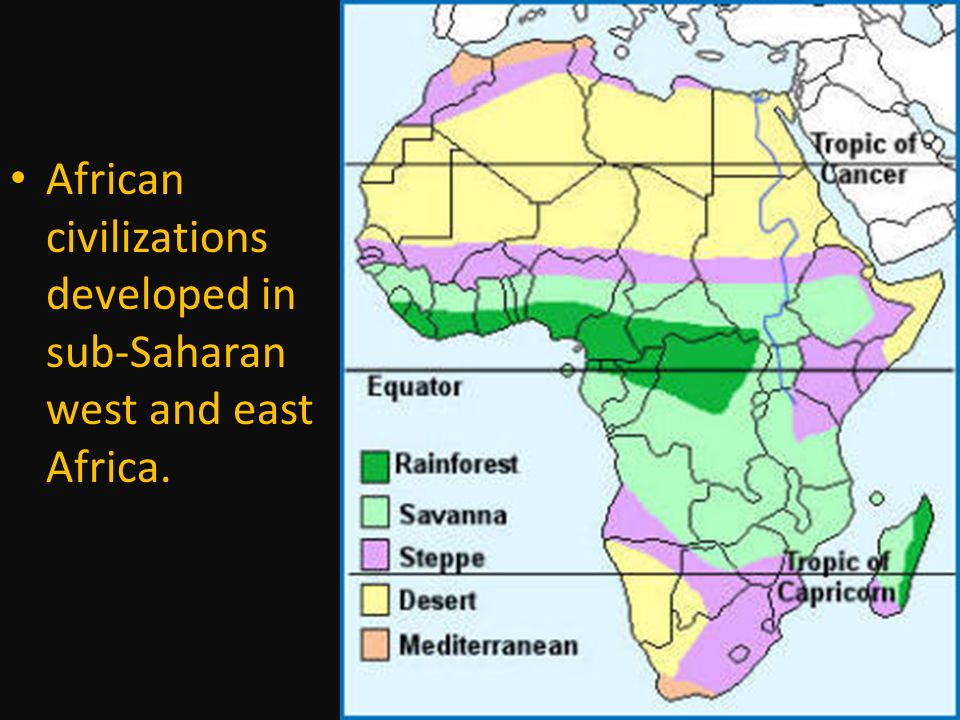 African civilizations developed in sub-Saharan west and east Africa.