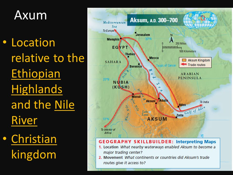 Axum Location relative to the Ethiopian Highlands and the Nile River Christian kingdom