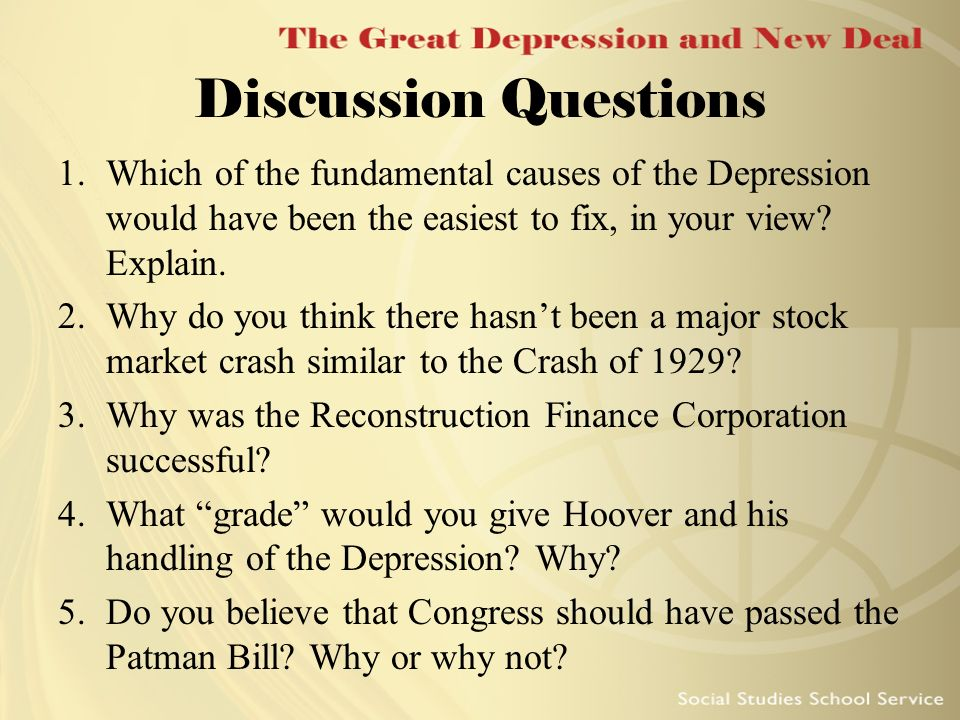 The Great Depression and New Deal. Essential Questions What ...