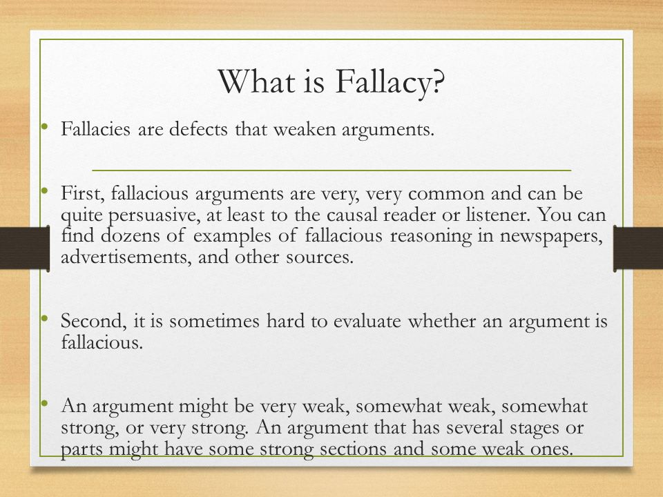 fallacy paper Fallacy summary and application understanding ones fallacies is the first step in improving on ones decision-making abilities this allows the person to outsource in their areas of weakness or can make.