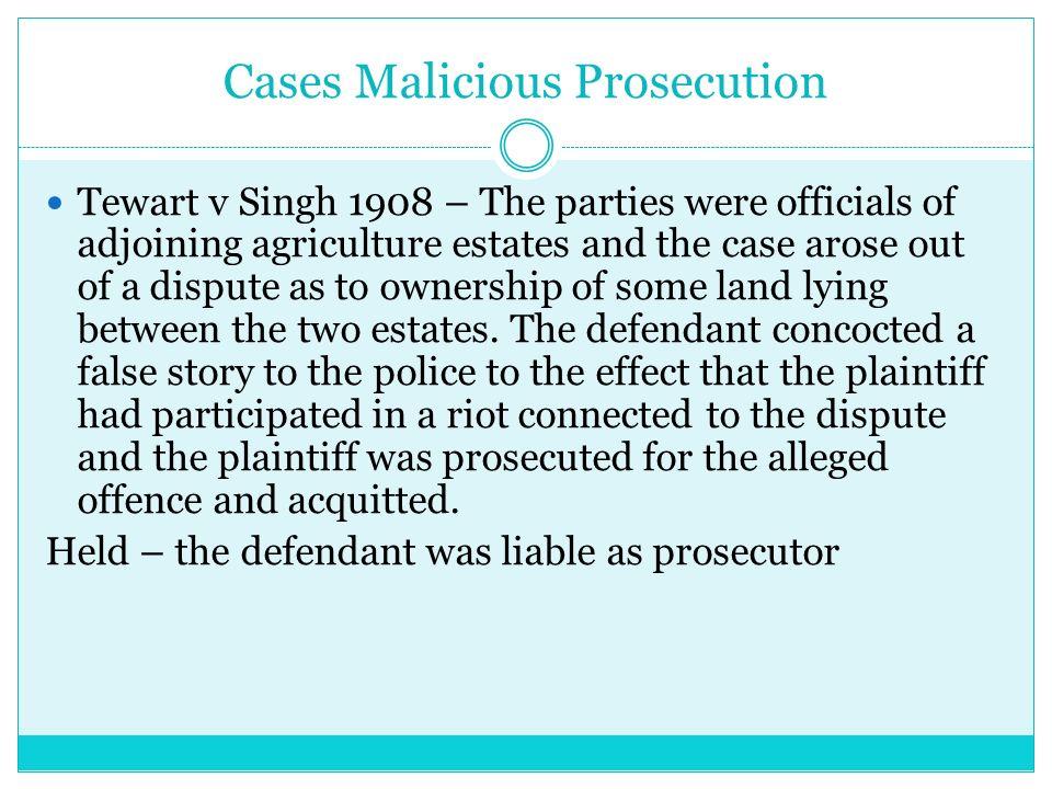 TRESPASS TO THE PERSON Malicious Prosecution  Trespass to
