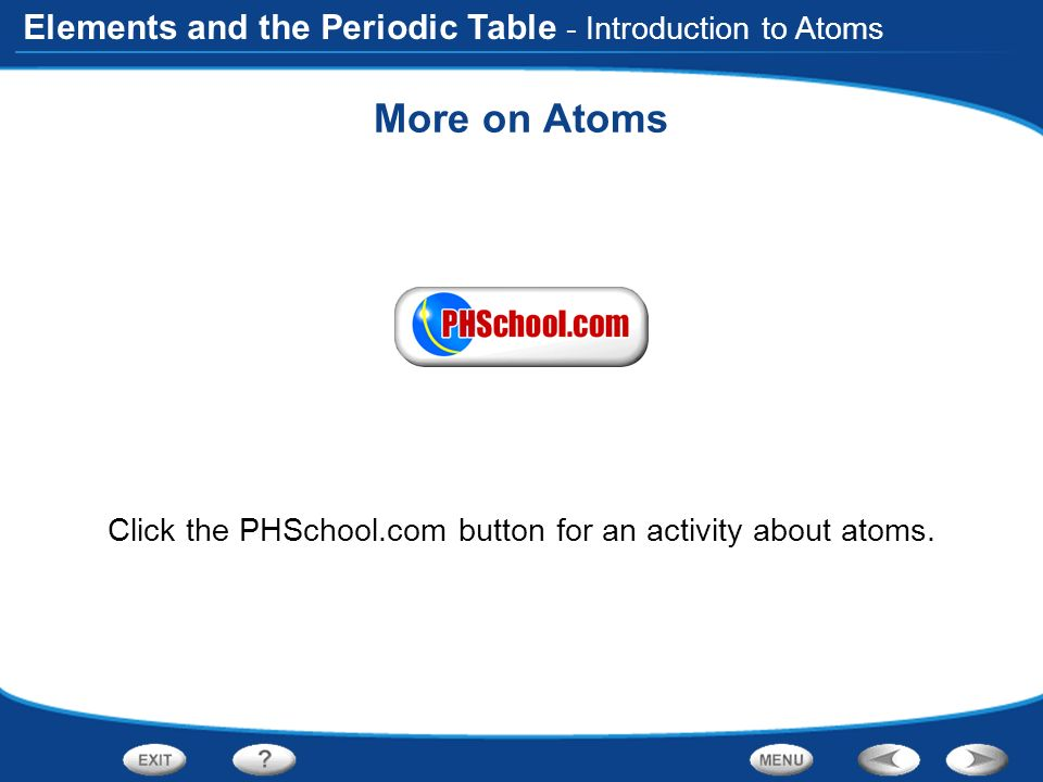 Elements and the periodic table introduction to atoms organizing the elements and the periodic table more on atoms click the phschool button for an urtaz Gallery
