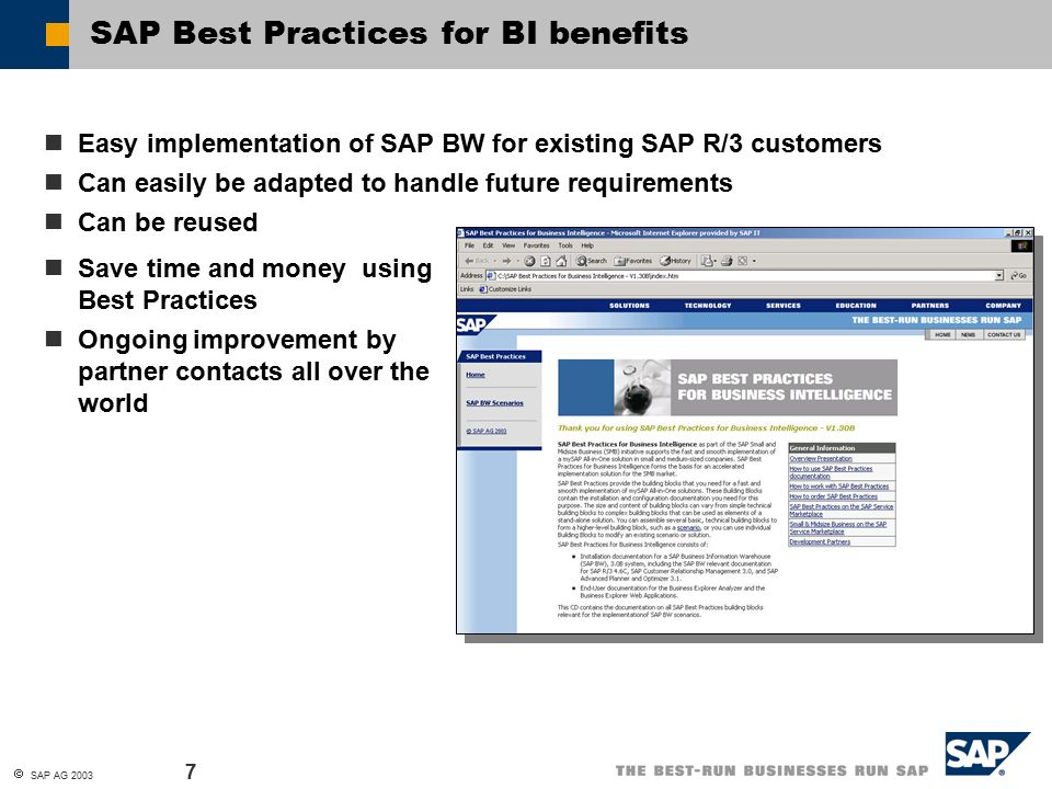 Sap best practices for business intelligence sap ag contents 7 sap malvernweather Image collections