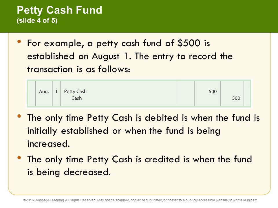The petty cash fund.