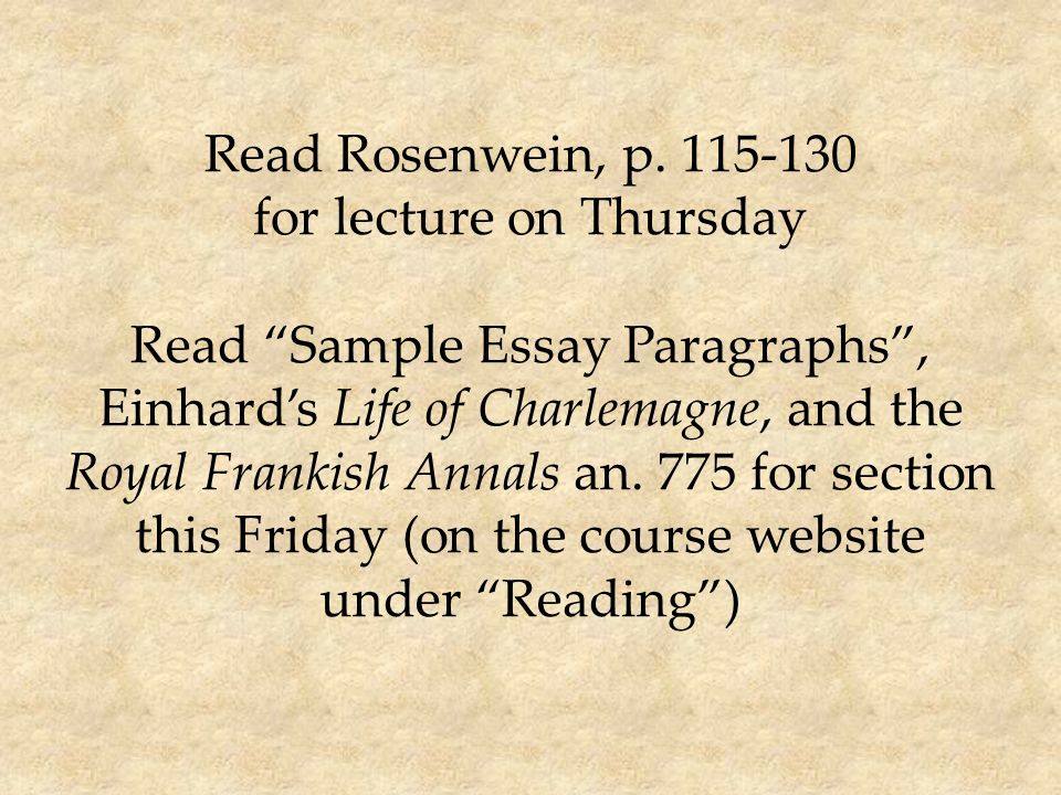 read rosenwein p for lecture on thursday read sample essay   read rosenwein