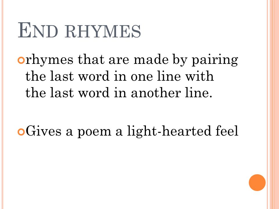 poetry chapter 7 r hyme two words that have the same chiming sounds