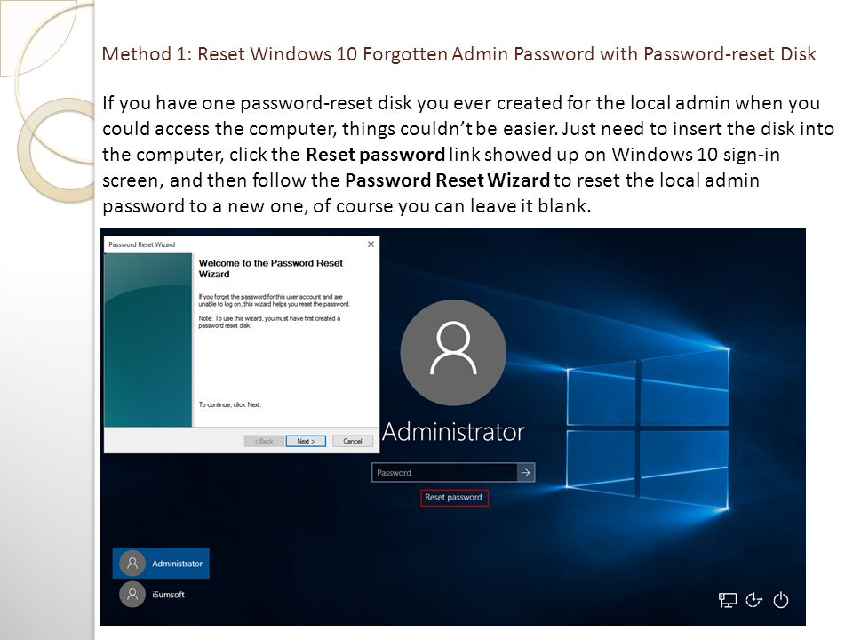 cant create password reset disk windows 10