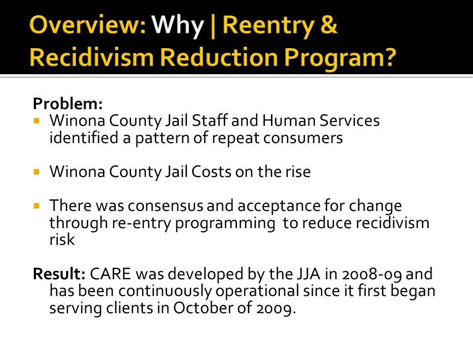 ... offender reentry program utilizing best practices. 3 Problem: ...