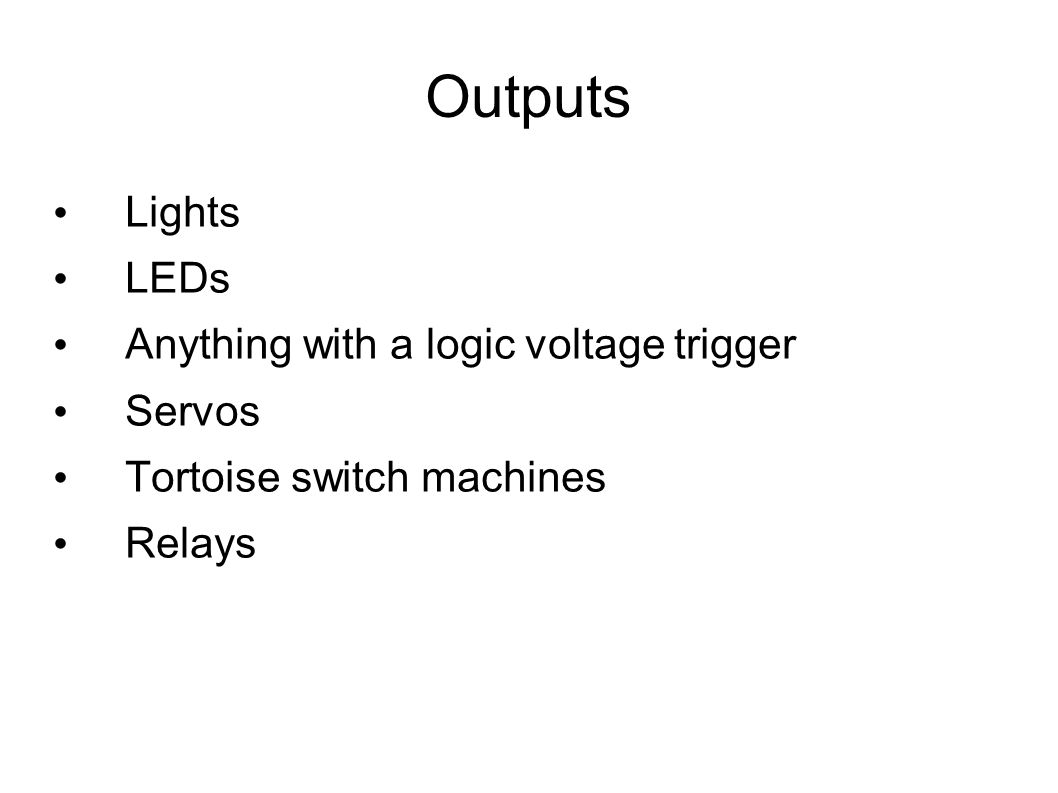 Trying Arduinos Or Our Patience Clinic Rules And Tortoise Switch Machine Wiring Diagram 7 Outputs Lights Leds Anything With A Logic Voltage Trigger Servos Machines Relays