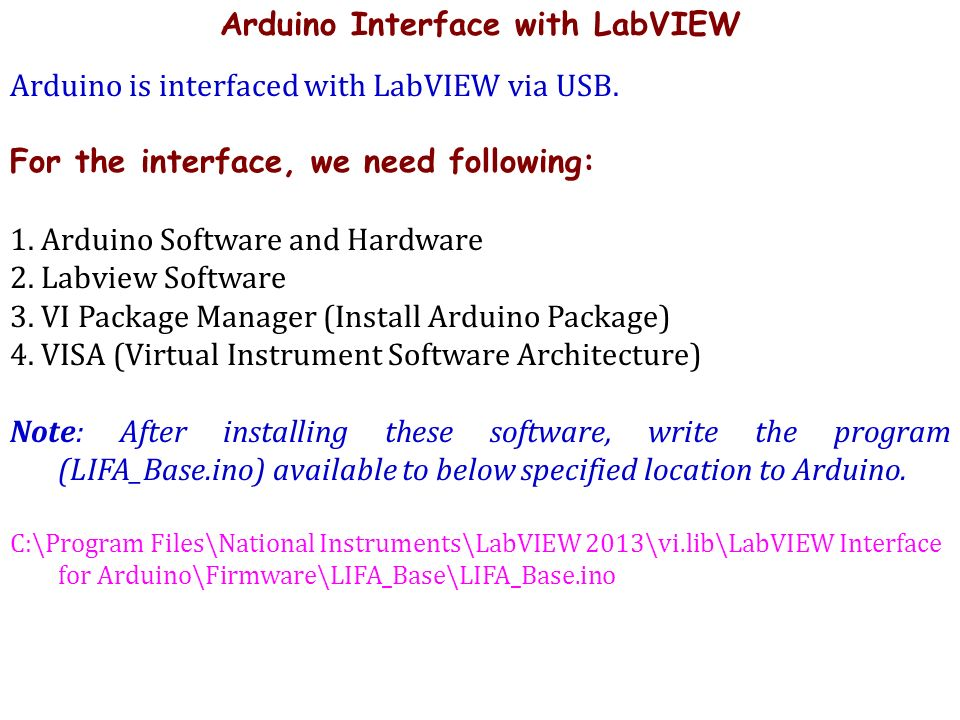 A LECTURE ON Arduino Interface With LabVIEW (Used Boards: Arduino