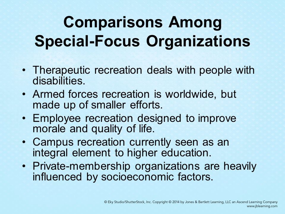 9 Chapter 9 Specialized Leisure- Service Areas  Objectives