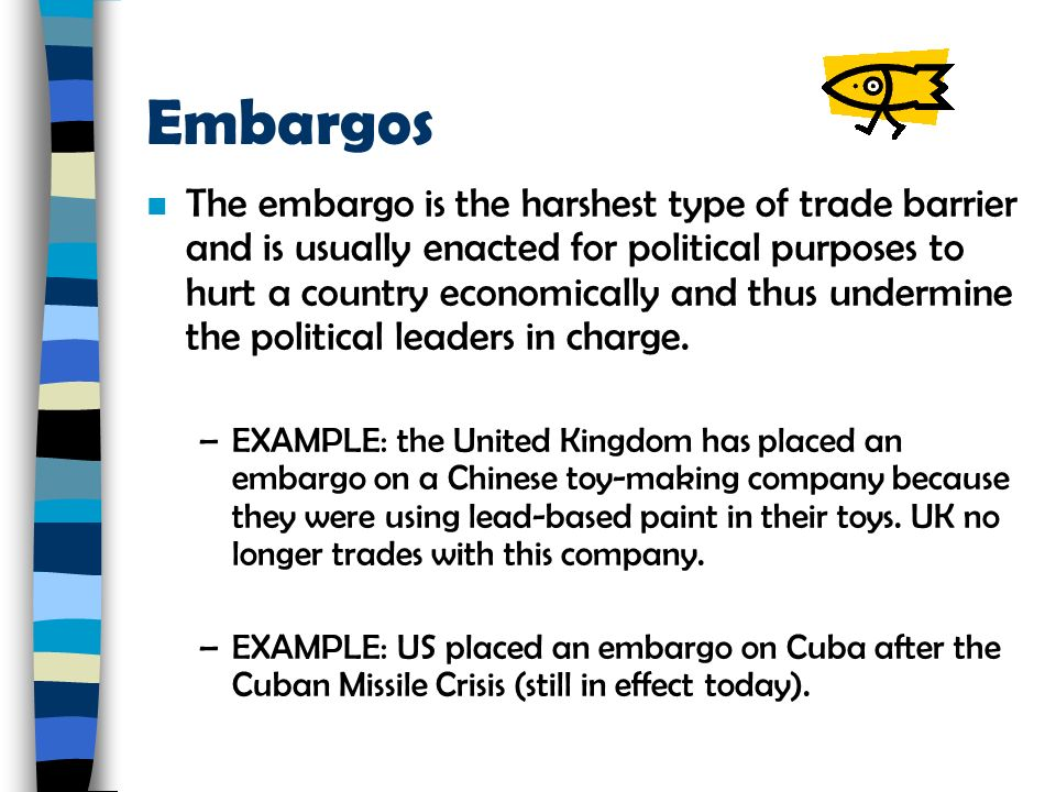 what are examples of trade barriers