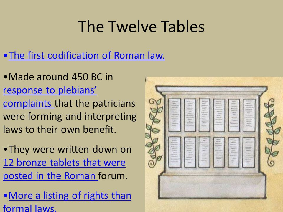 The first codification of roman laws was called the