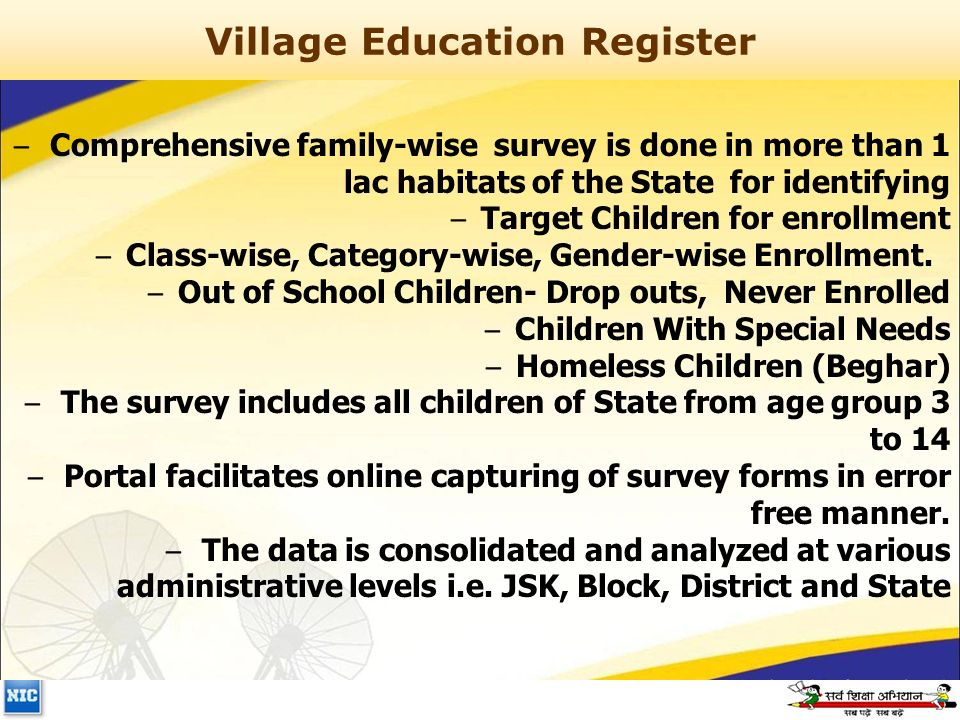 Village Education Register – Comprehensive family-wise survey is done in more than 1 lac habitats of the State for identifying – Target Children for enrollment – Class-wise, Category-wise, Gender-wise Enrollment.
