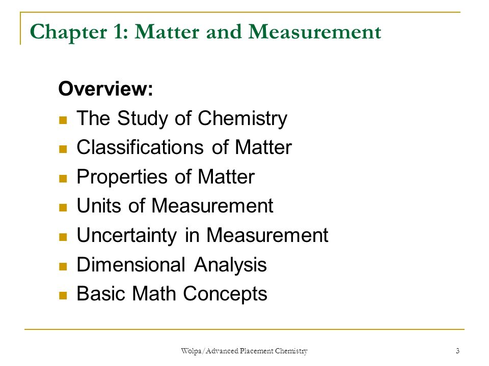 Unit 1 Matter And Measurements Honors Chemistry Wolpaadvanced