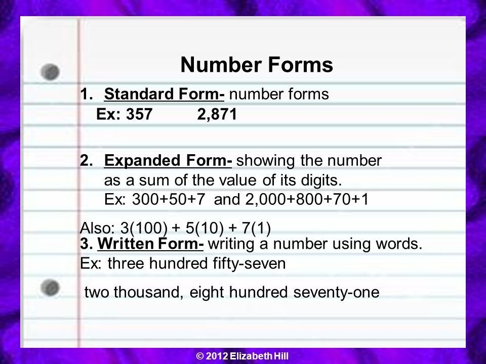 Number Forms 5.NBT.3.a I can read and write decimals to the ...