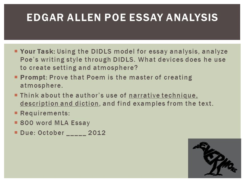 Short Stories English  Two Words By Isabel Allende Echoes A  Your Task Using The Didls Model For Essay Analysis Analyze Poes Writing  Style Group Service Projects also Pay To Take My Online Class  Owl Online Writing Lab