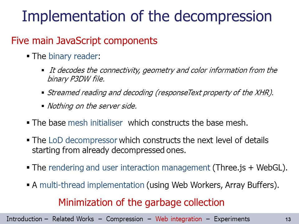 Streaming Compressed 3D Data on the Web using JavaScript and
