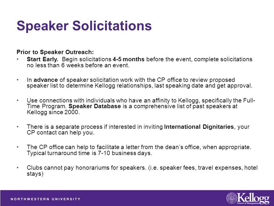 Corporate Partnerships Speaker Solicitation and Sponsorship