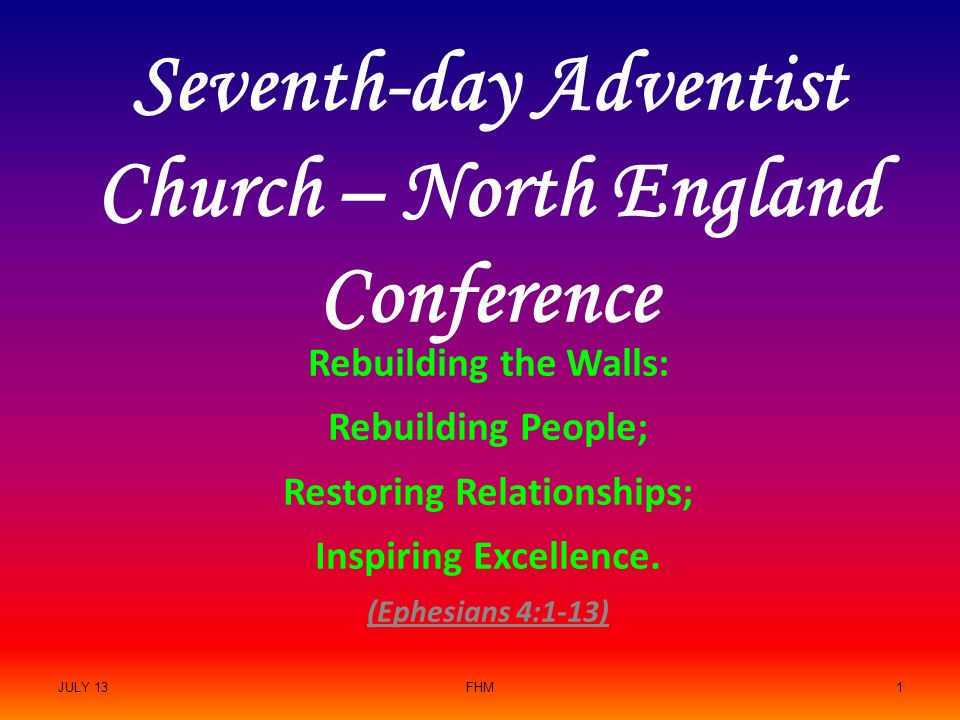 Seventh-day Adventist Church – North England Conference Rebuilding
