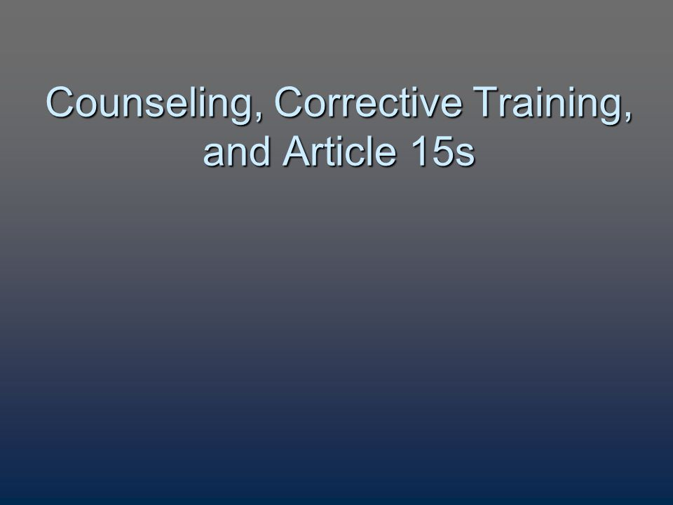 fm 7 22 corrective training