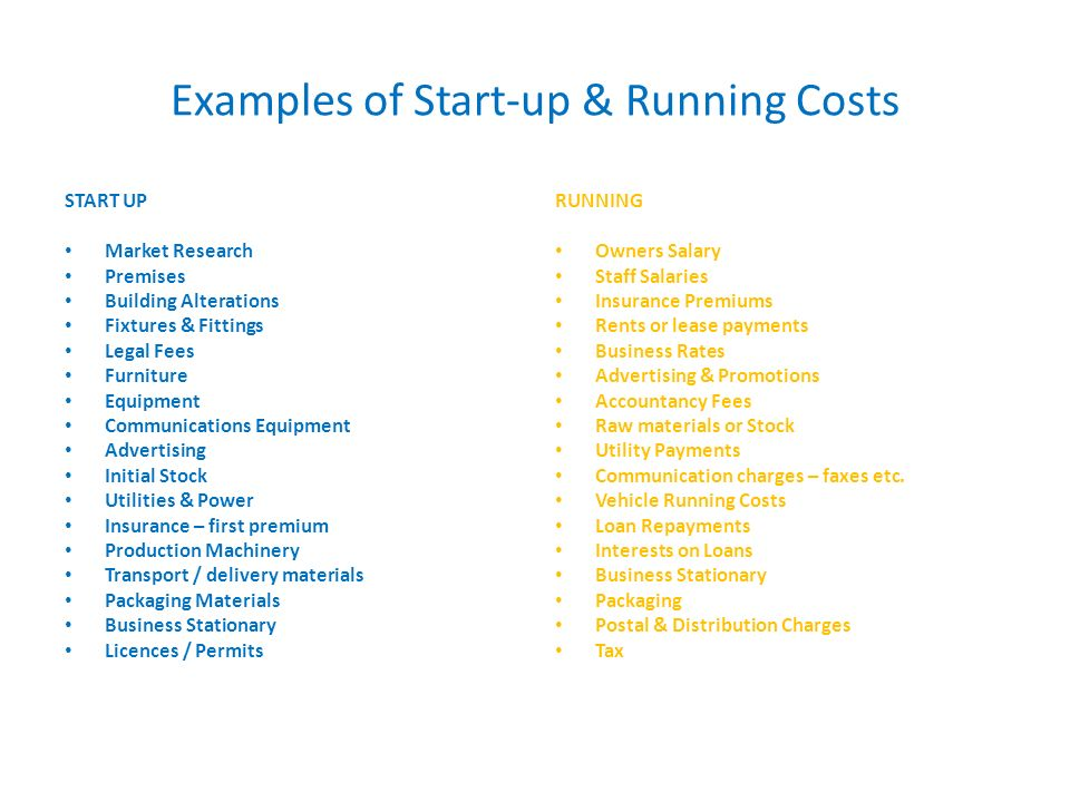 startup and operating costs