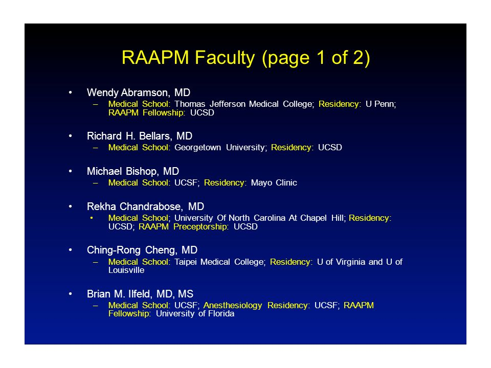 Regional Anesthesia and Acute Pain Medicine Fellowship