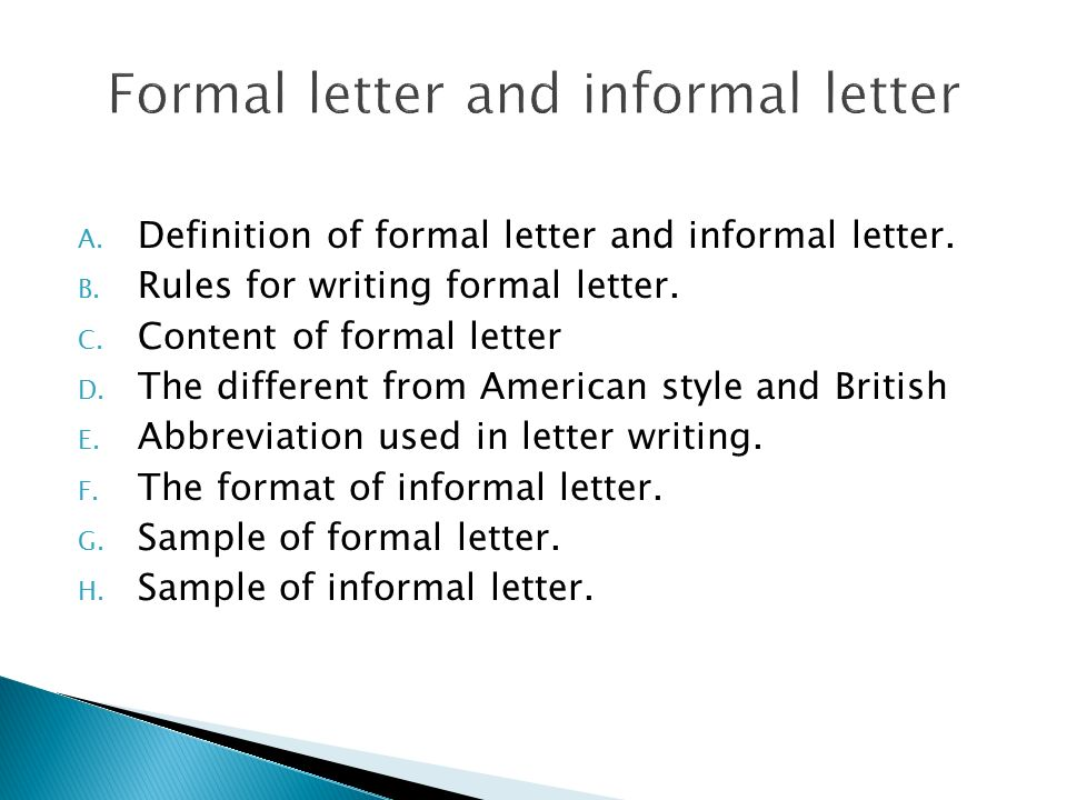 a definition of formal letter and informal letter